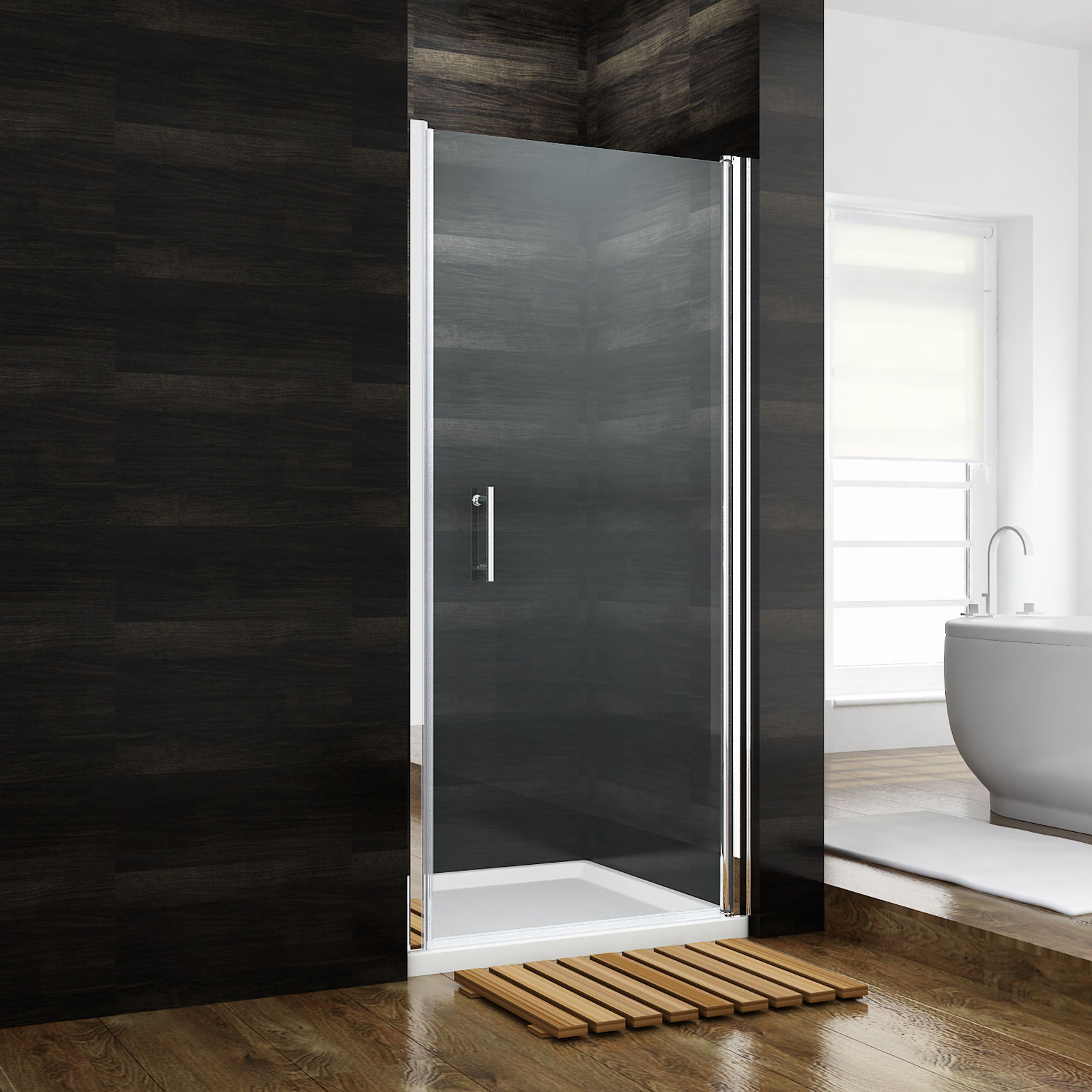 Details About Sunny Shower 31 1 4x72 In Semi Frameless Glass Pivot Shower Door Chrome Finish