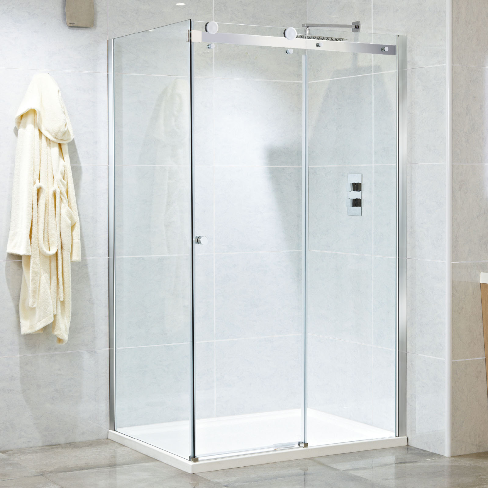 Phoenix Motion Frameless Single Sliding Shower Door 1000 1400mm