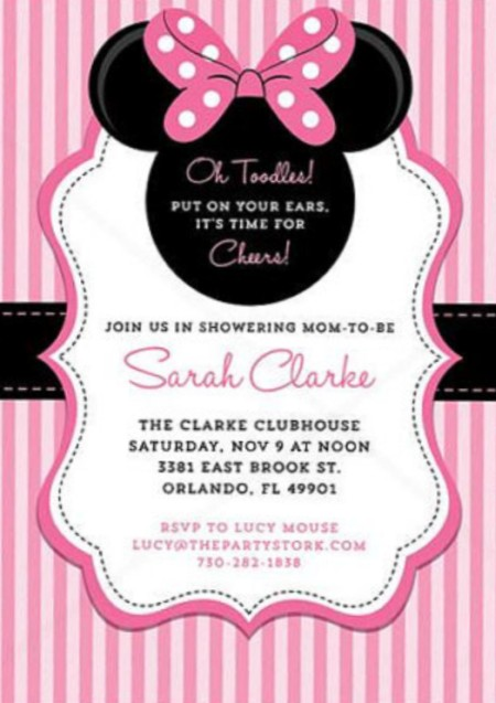 Minnie Mouse Baby Shower Invitation On