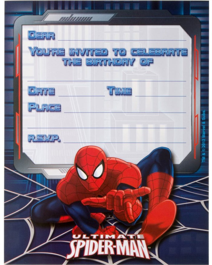 ultimate spiderman birthday invitations