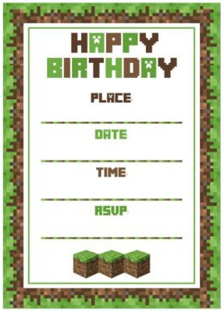 Minecraft Birthday Party Invitation Template Invitations Online