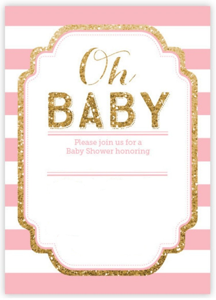 Pink And Gold Glitter Baby Shower Invitation Invitations