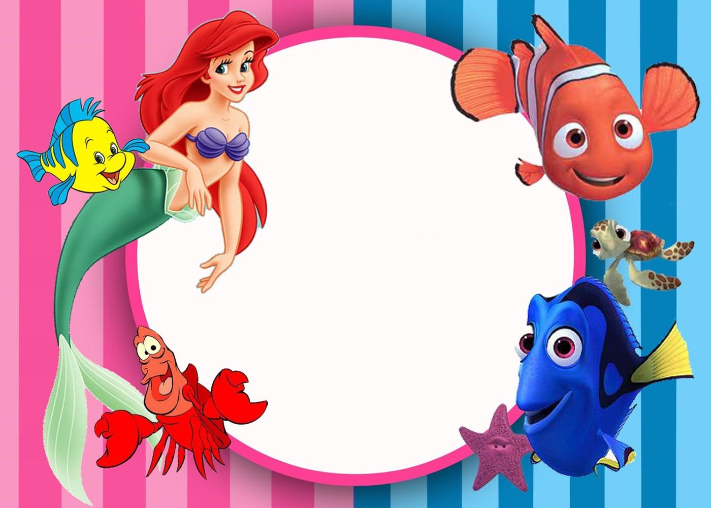 little mermaid birthday invitation card