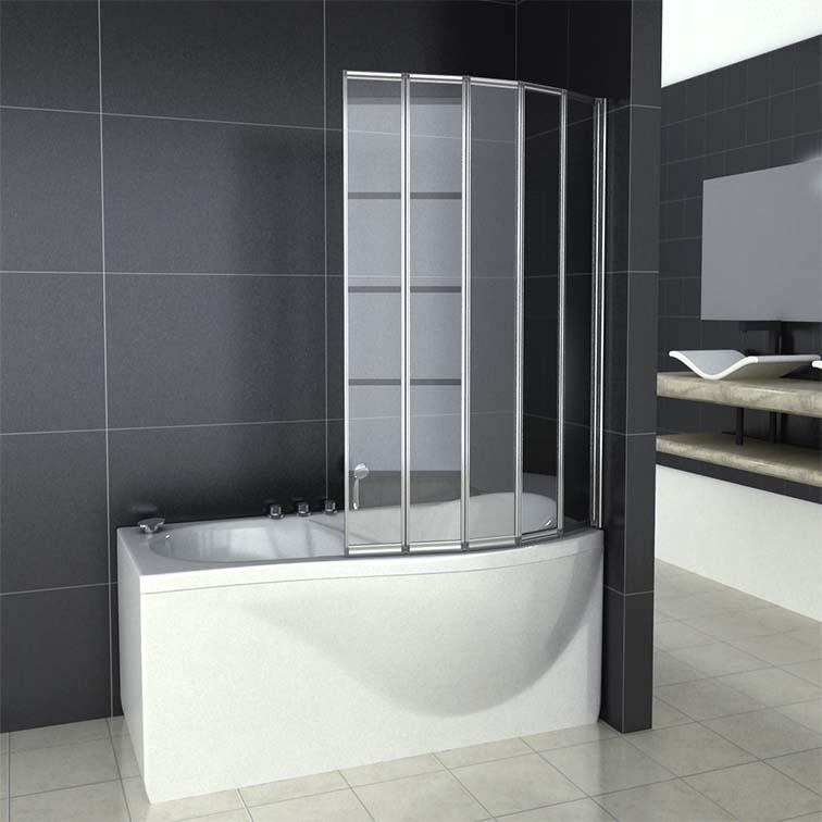 12345 Folds Curved Folding Bath Shower Screen Glass
