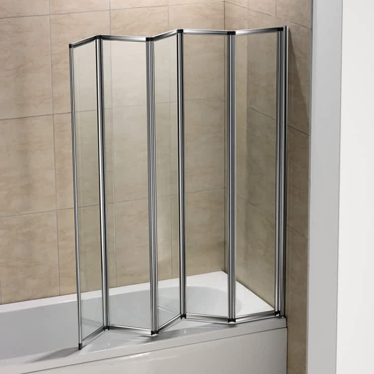 12345 Fold Pivot Folding Bath Shower Screen 1400 Glass