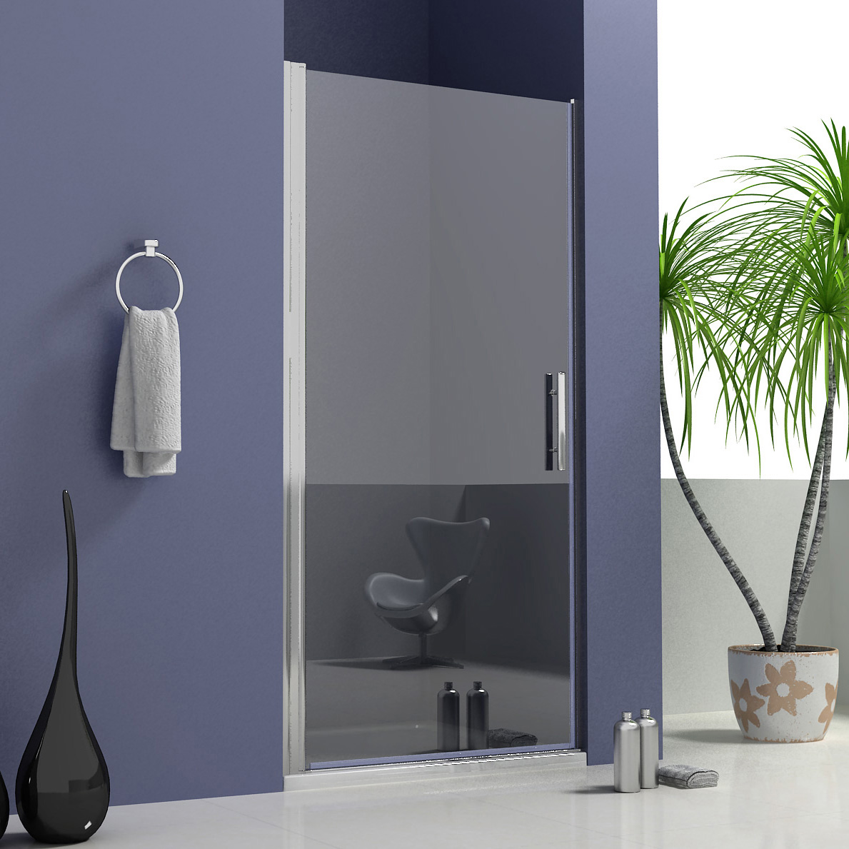 Details About 760 X 900mm Frameless Pivot Shower Enclosure Glass Door Screen Stone Tray Waste