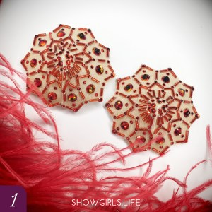 Large Fire Opal Burlesque Pasties Nipple Covers nipple pasties