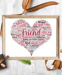 Personalised Friend Heart Word Art Picture Frame