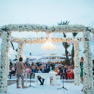 Iluminación boda en playa La Manga