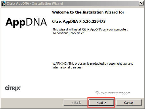 AppDNA 7 Installation Welcome Wizard