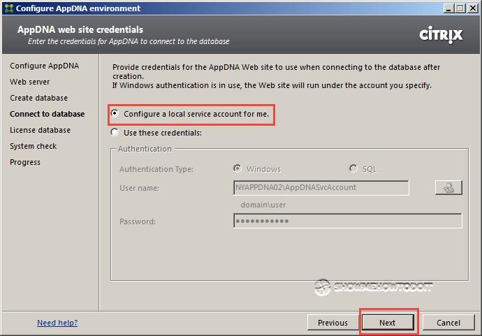 AppDNA 7 Database Credentials