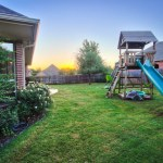 Large back yard with sunrise and playground equipment