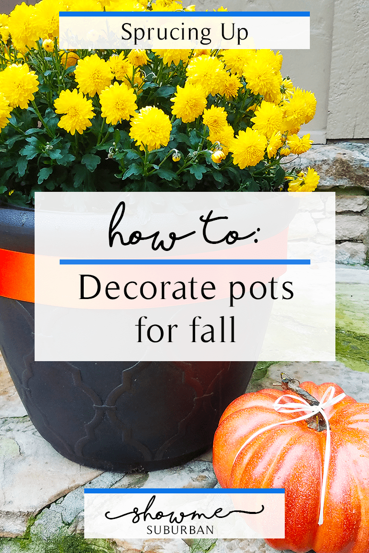 Looking for fall decor ideas for the front porch?  Try this quick and easy diy to put a fall spin on the pots you already have!  Great decor for Halloween and Thanksgiving, too!