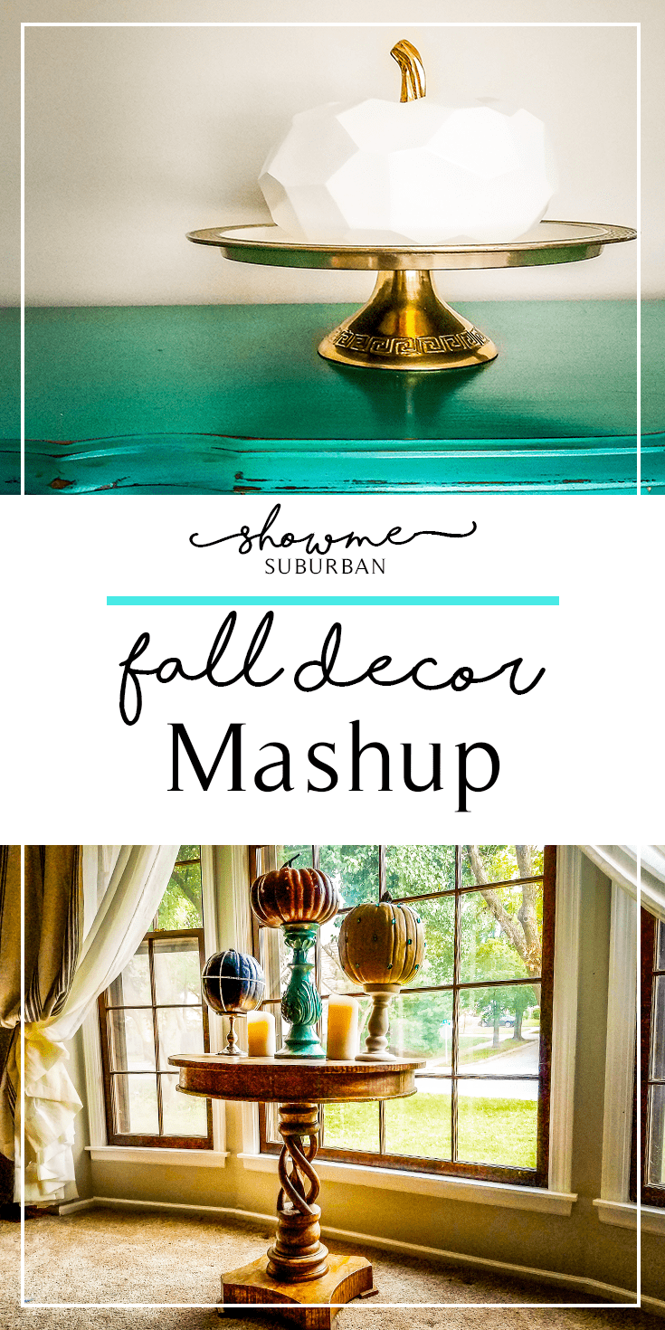 Looking to create glamorous, understated fall décor?  Learn to mix and match seasonal and non-seasonal décor to create your own fall décor mashup!  Great for Halloween, Thanksgiving, and all through fall.  Ideas for jeweled pumpkins, fall vignettes, and easy fall decorating!