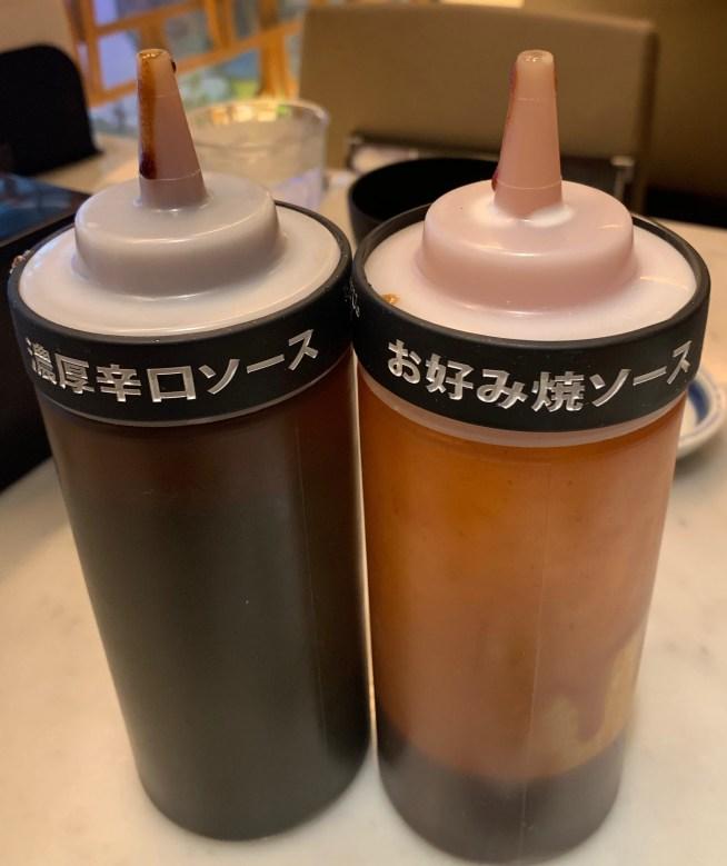 渋谷の宮益坂「ぼてじゅう」のソース2種
