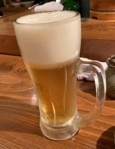 恵比寿にある寿司居酒屋「あげまき」のビール