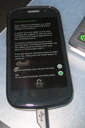 bootloader unlock - Desbloquear, Root e Recovery no Nexus S