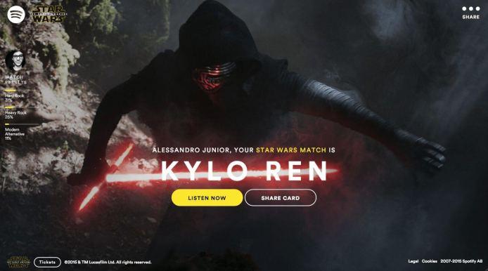 spotify kilo ren - Spotify descobre qual personagem de Star Wars combina com você