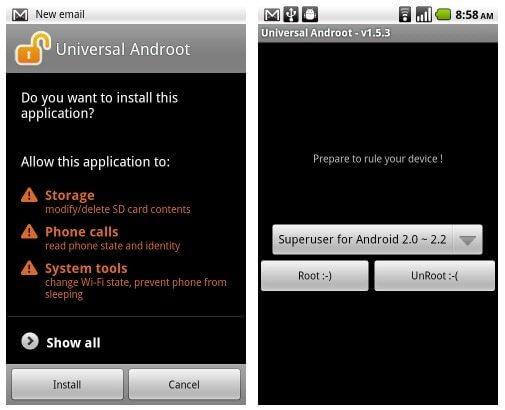 universalandroot3 thumb 1 - Tutorial: Root com 1 clique para o Motorola Milestone, Xperia X10, G1, Nexus One, Droid, Droid X, Hero, Streak e outros