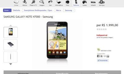 galaxynotebr - Galaxy Note aparece no site da Fnac Brasil
