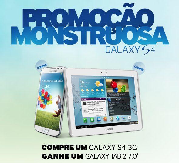 Promoção Monstruosa Samsung: compre um Galaxy S4 e ganhe um Galaxy Tab 2