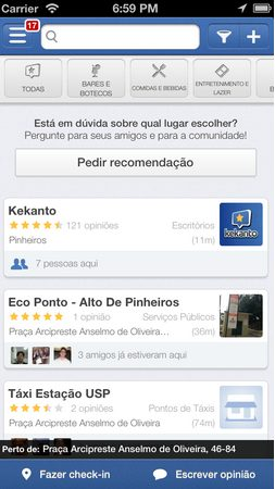 Captura de Tela 2013 08 03 às 19.52.23 - Aplicativo Kekanto permite pedir recomendação e marcar amigos