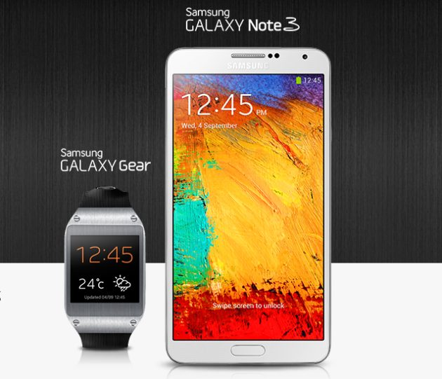 galaxy gear and note 3 630x541 - Samsung Galaxy Note 3 mostra como será a integração com o Gear