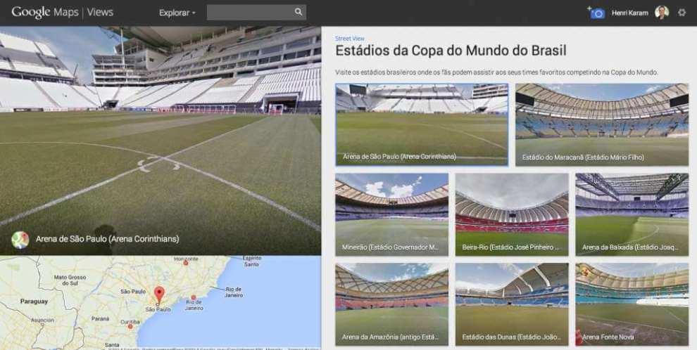 Captura de Tela 2014 06 24 as 16.08.251 - Conheça os estádios da Copa do Mundo no Street View