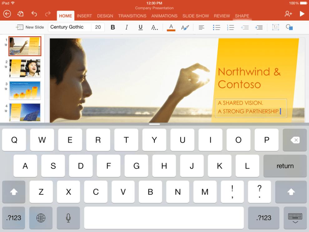 ipad ppt 1 1024x768 - Pacote de aplicativos Office é oferecido de graça pela Microsoft iOS e Android