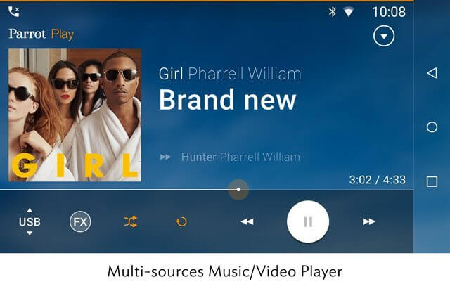 Parrot rnb6 multi sources music video player