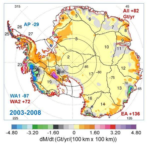 figure dmdt map 590x583 - Aquecimento global? Nasa revela que Antártida está ganhando gelo, não perdendo
