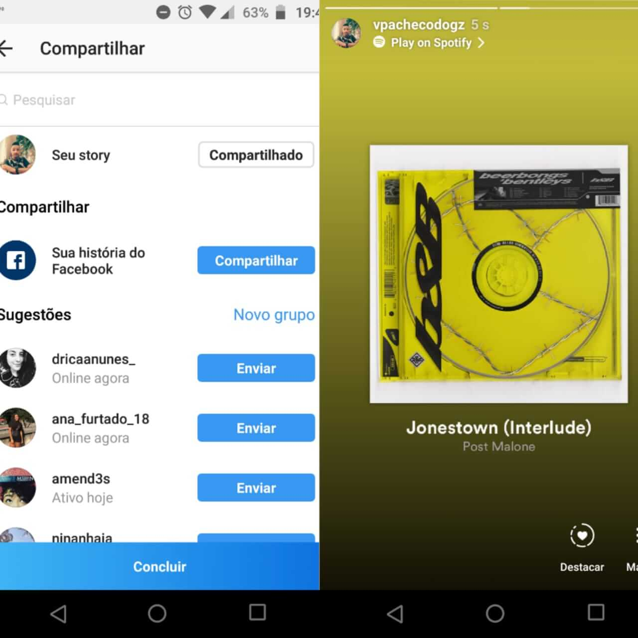 Como compartilhar músicas do Spotify no Instagram 8