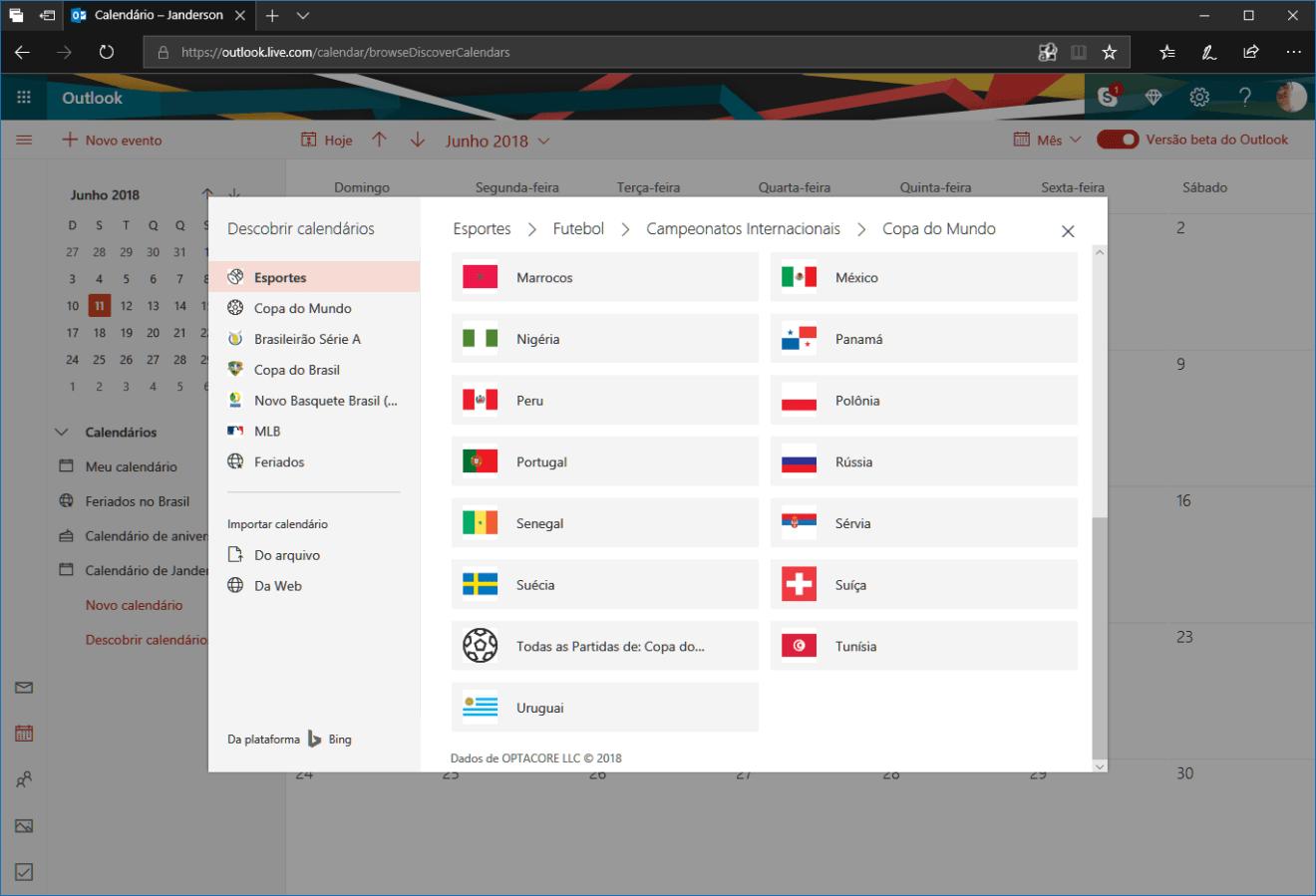 outlook guia 02 - Adicione todos os jogos da Copa do Mundo da Rússia na sua Agenda