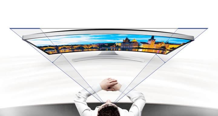 O campo de visão é melhorado pelas telas curvas garantindo experiência de cinema.