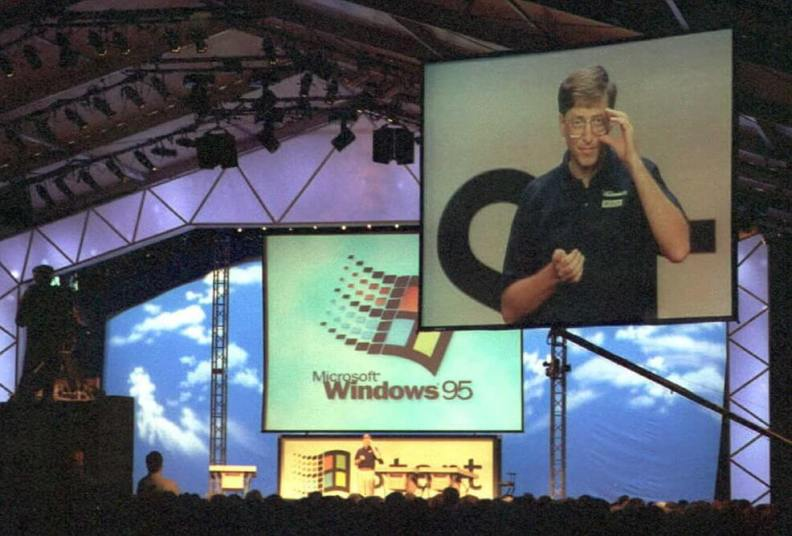Foto do lançamento do Windows 95