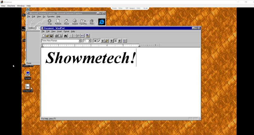 Teste do app Windows 95