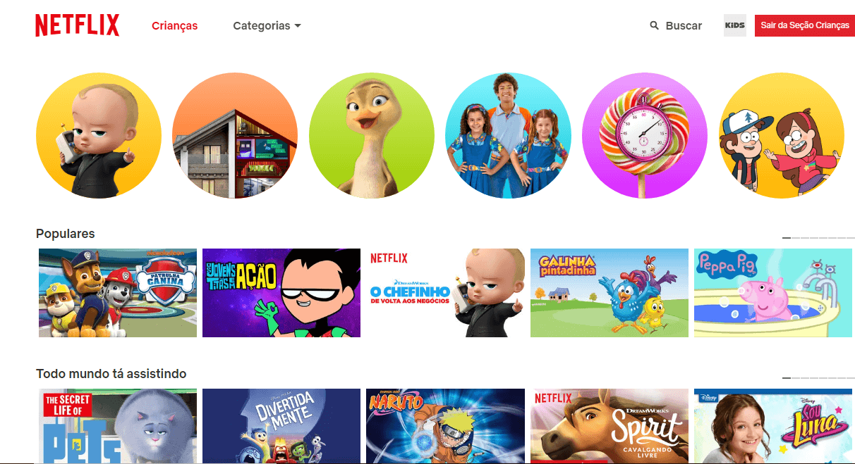 Sessão com conteúdo infantil do serviço de streaming Netflix