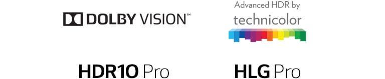 HDR10 Pro, HLG Pro e Dolby Vision