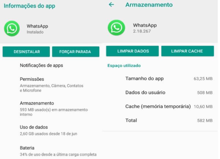 Foto mostrando como apagar vídeos do WhatsApp.