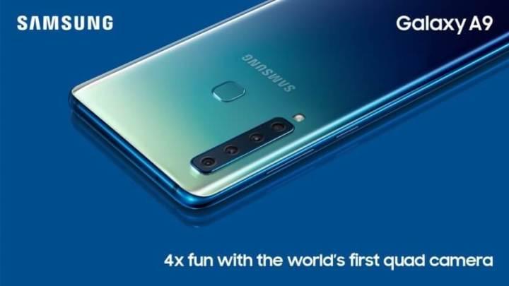 Fundo do Galaxy A9 tem gradiente de cor, tornando o visual ainda mais bonito