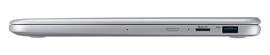 Uma porta USB 3.1, leitor de cartões microSD, botão power e ainda dois microfones para captação pura do áudio