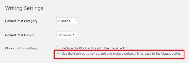 classic editor wp plugin settings 630x210 444 - Nova atualização do WordPress 5.0 já está disponível e traz novidades