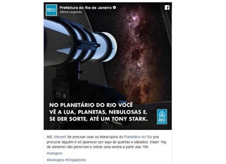 ´Prefeitura do RJ aproveita o trailer de Vingadores para mandar uma mensagem para a Marvel