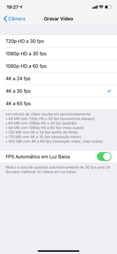 iPhone XR Dicas e Truques: FPS Automático em Luz Baixa