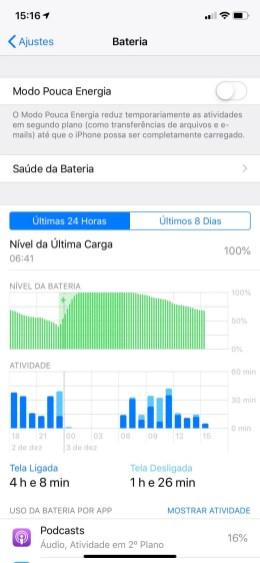 Gerenciamento de Bateria no iPhone XR