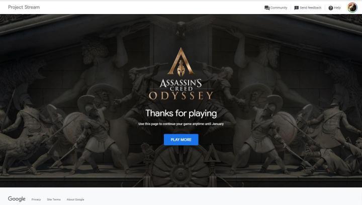 Print do Project Stream, que está oferecendo Assasins Creed: Odyssey gratuitamente