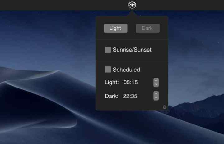 Captura de tela do NightOwl, que está ativando o Modo Escuro em um Mac