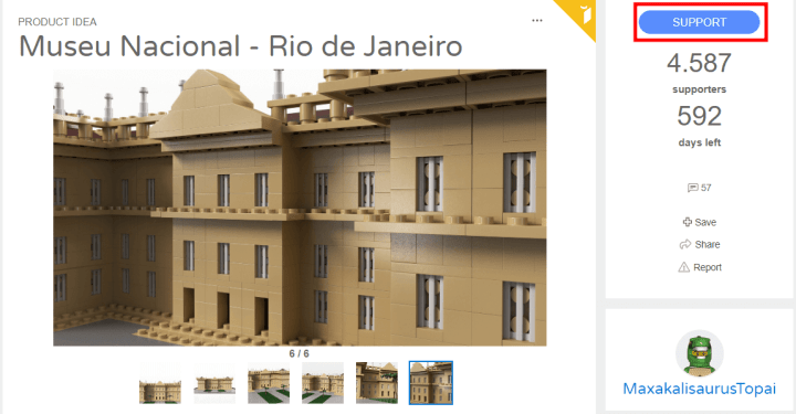 Página do projeto do LEGO do Museu Nacional do Rio de Janeiro