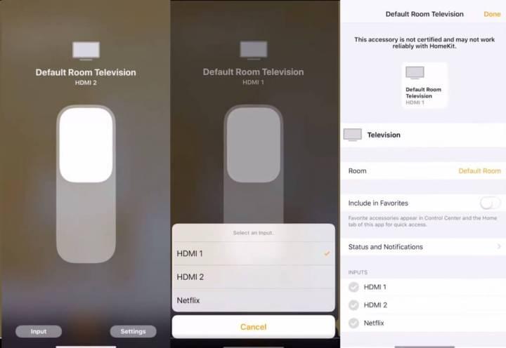 Controle de entradas da TV através do app Casa no iOS 12.2