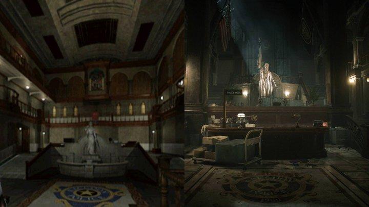 O hall central da delegacia de polícia de Resident Evil 2 é uma das áreas mais reconhecíveis do clássico.